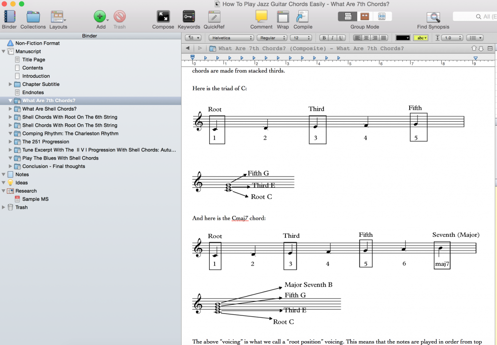 Free ebook Jazz Guitar chords Scrivener screenshot